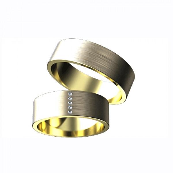 Обручальное кольцо из белого с золота