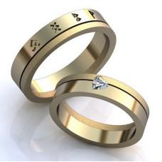 Обручальное кольцо из белого золота c рунами