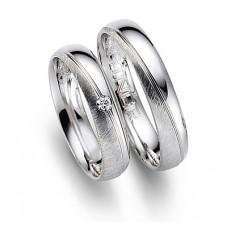 Обручальное кольцо из белого золота матовое