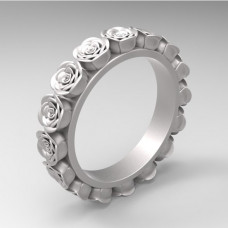 Обручальное кольцо из белого золота 'Розы'