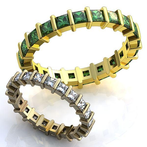 Обручальное кольцо из белого золота с алмазами