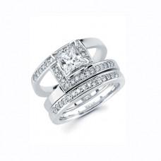 Обручальное кольцо из белого золота с алмазом и бриллиантами