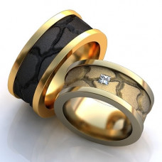 Обручальное кольцо из белого золота с алмазом