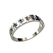 Обручальное кольцо из белого золота с аметистами