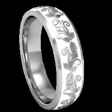 Обручальное кольцо из белого золота с белой эмалью