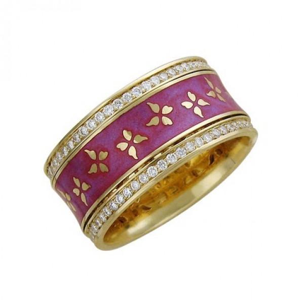 Обручальное кольцо из белого золота с бриллиантами и эмалью