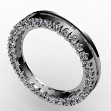 Обручальное кольцо из белого золота с бриллиантами по краям