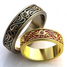 Обручальное кольцо из белого золота с бриллиантом и эмалью