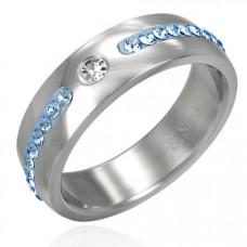 Обручальное кольцо из белого золота с бриллиантом и сапфирами