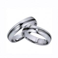 Обручальное кольцо из белого золота с бриллиантом с покрытием чёрным родием