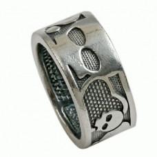 Обручальное кольцо из белого золота с 'Черепом'