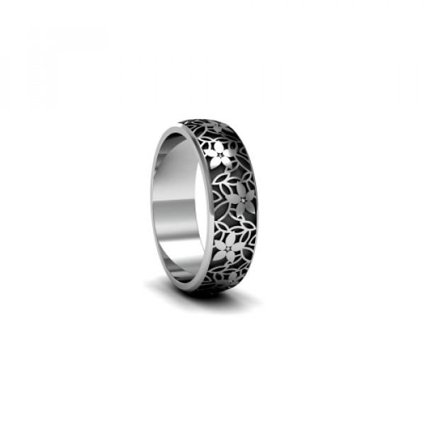 Обручальное кольцо из  белого золота с чернением и бриллиантами