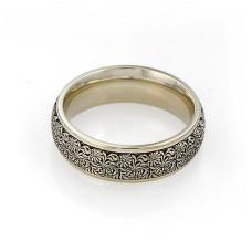 Обручальное кольцо из белого золота с чернением