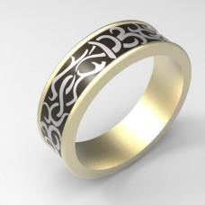 Обручальное кольцо из белого золота с черной эмалью