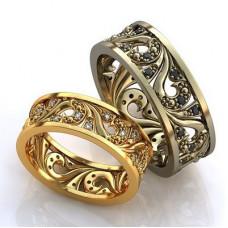 Обручальное кольцо из белого  золота с черными бриллиантами