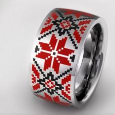 Обручальное кольцо из белого золота с цветной эмалью