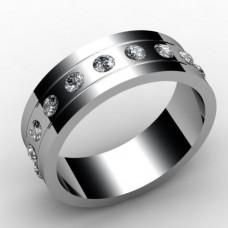 Обручальное кольцо из белого золота с десятью бриллиантами