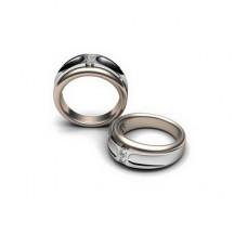 Обручальное кольцо из белого золота с двумя бриллиантами