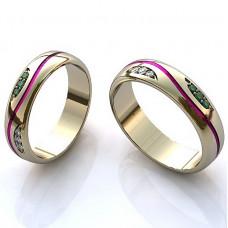 Обручальное кольцо из белого золота с эмалью, бриллиантами и изумрудами