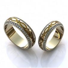 Обручальное кольцо из белого золота с эмалью и бриллиантами