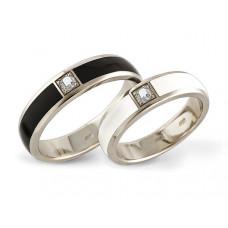 Обручальное кольцо из белого золота с эмалью и бриллиантом