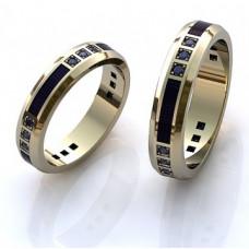 Обручальное кольцо из белого золота с эмалью и сапфирами