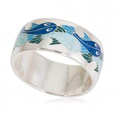 """Обручальное кольцо из белого золота с эмалью 'Рыбки"""""""