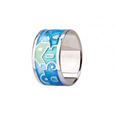 Обручальное кольцо из белого золота с эмалью