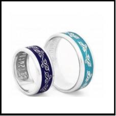 Обручальное кольцо из белого золота с голубой эмалью