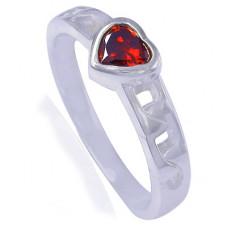 Обручальное кольцо из белого золота с гранатом