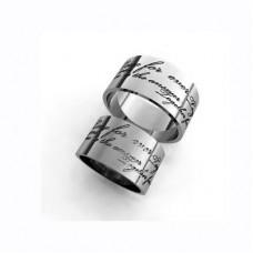 Обручальное кольцо из белого золота с гравировкой