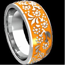 Обручальное кольцо из белого золота с желтой эмалью