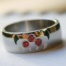 Обручальное кольцо из белого золота с рубинами и эмалью