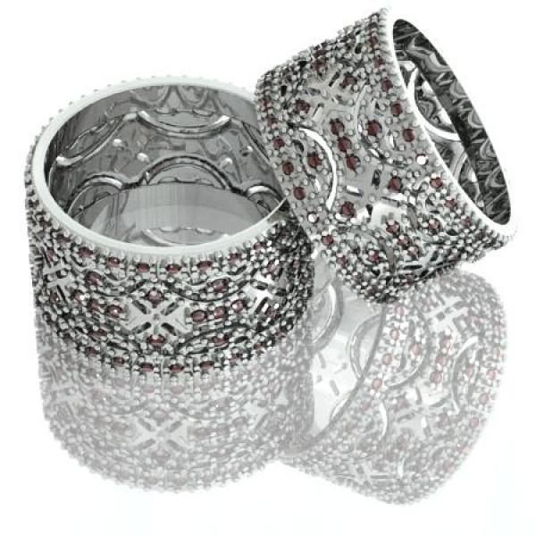Обручальное кольцо из белого золота с рубинами