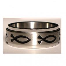 Обручальное кольцо из белого золота с рыбками
