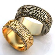 Обручальное кольцо из белого золота с сапфирами и эмалью