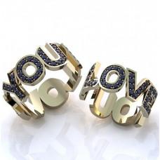 Обручальное кольцо из белого золота с сапфирами