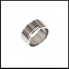 Обручальное кольцо из белого золота с штрих кодом