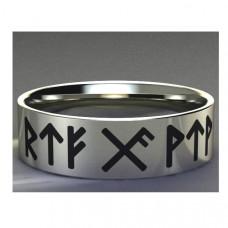 Обручальное кольцо из белого золота с символами