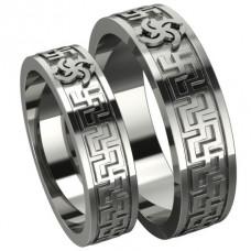 Обручальное кольцо из белого золота с символом