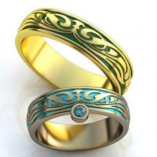 Обручальное кольцо из белого золота с топазом и эмалью