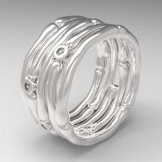Обручальное кольцо из белого золота с тремя бриллиантами