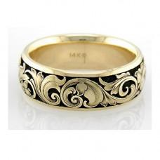 Обручальное кольцо из белого золота с узором и эмалью