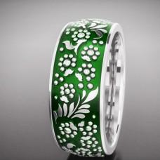 Обручальное кольцо из белого золота с зеленой эмалью