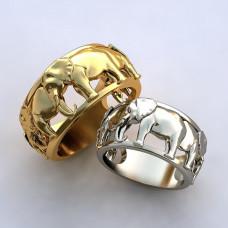 Обручальное кольцо из белого золота со слонами
