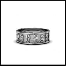 Обручальное кольцо из белого золота 'Танцы'