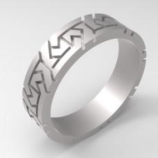 Обручальное кольцо из белого золота в виде узора