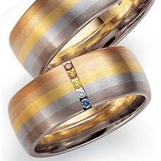 Обручальное кольцо из черногого,голубого,желтого,розового и красного  золота с бриллиантами