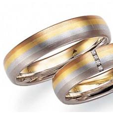 Обручальное кольцо из черного,голубого,желтого и красного  золота с бриллиантами
