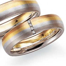 Обручальное кольцо из черного,голубого,желтого и красного  золота